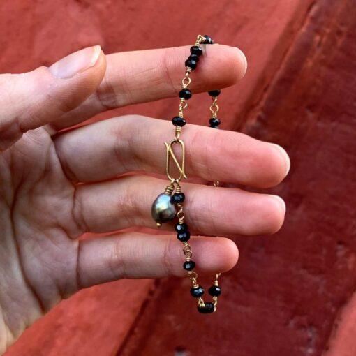 Black Spinel And Keshi Bracelet