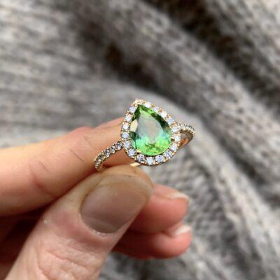 Green Drop Tourmaline Ring