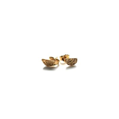 Mini half moon gold earrings