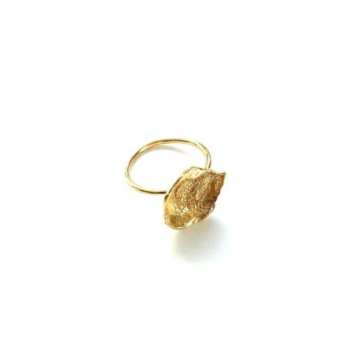Flame medium gold ring