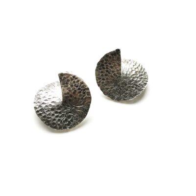 Flame mega silver earrings