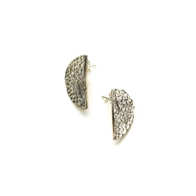 Half moon silver earrings