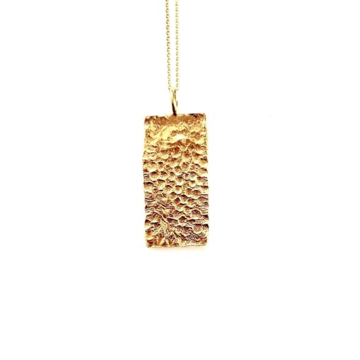 Flame square gold necklace