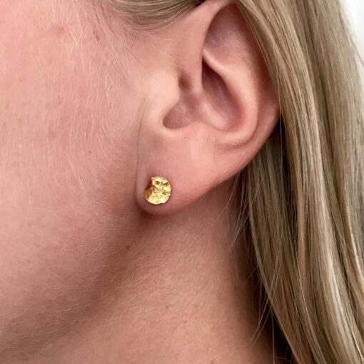 Flame mini gold earrings